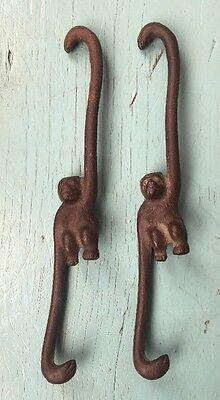 "2 Vintage Cast Iron Hanging Monkey Hooks ~ 8 1/2"" Pot Hanger Plant Holder"