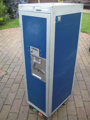Blue Airline Trolley Waste Cart Bin Rubbish Storage Mobile Bar Catering