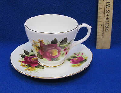 Tea Cup & Saucer Duchess Bone China England Pink Red Rose Flower Floral 344