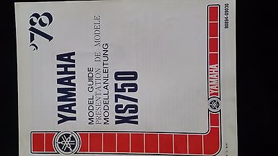 yamaha XS750 model guide in english / french / german 1978