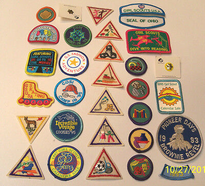 29 Girl Scout & Brownie Badges + 2 Membership Pins All New Never Ironed On