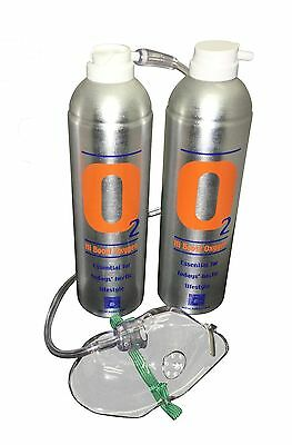 2 Pure Oxygen 7.2 Litre cans + 1 x  Mask & 1.8 M Tubing Portable Oxygen Cylinder
