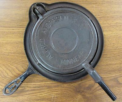 ALFRED ANDERSON & Co. Advertising Waffle Iron GRISWOLD Base 8 MINNEAPOLIS -AB603