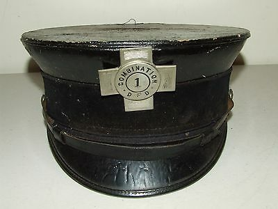 Antique 1913 Dover New Hampshire F.D. Victorian Leather Fire Cap Hat with Badge
