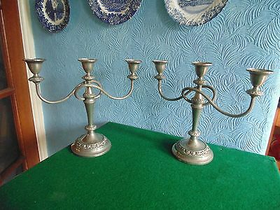 STUNNING PAIR of  LARGE VINTAGE IANTHE SILVER PLATED CANDLEABRA CANDLESTICKS