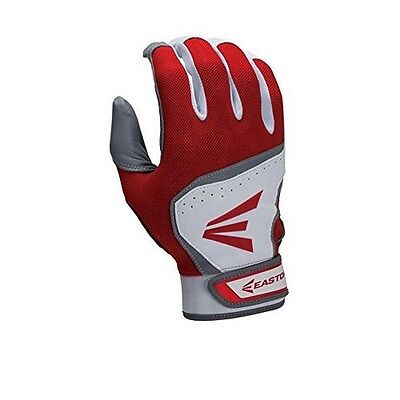 New Easton HS7 Hyperskin Adult Baseball Pair Pack Batting Gloves White/Red S-XL