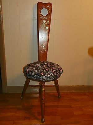 Vintage 3 Legged Wood Chair Stool Mid Century RARE UNIQUE