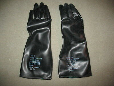 """10 New Medium Pair Of Gardening Gloves Black Rubber 14"""" Long With Liners"""