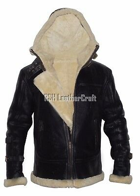 B3 Bomber WWII Cream Real Shearling Black Leather Flying Jacket Removable Hood