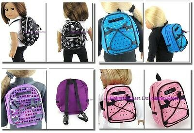 Sequin Back Pack 4 Color Choices 18 in Doll Clothes Accessory For American Girl