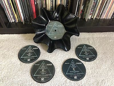 Pink Floyd Record Bowl & 4 Vinyl Coaster Set The Dark Side Of The Moon!