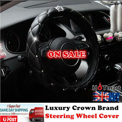 Black Universal Japan Luxury Crown PU leather auto car steering wheel cover x1