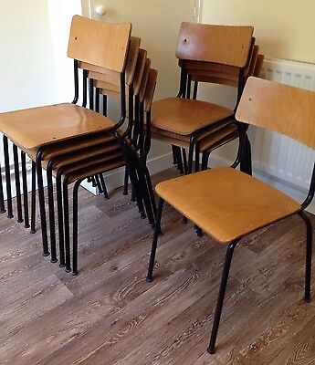 Single Vintage Industrial Stacking School Cafe Bar Chair