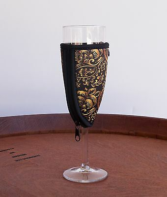 Champagne Glass Coolers Neoprene Pack of 6 Gold & Black Kris Kringle Christmas