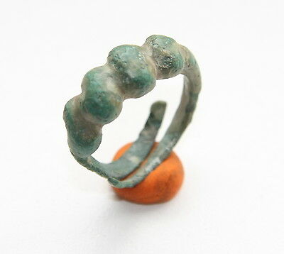 Ancient Old Viking Bronze Twisted Finger Ring (ARL)
