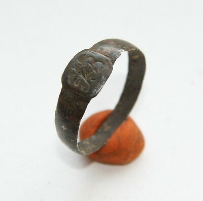 """Antique Bronze Finger Ring WIth Initials """"KB"""" (MJA)"""