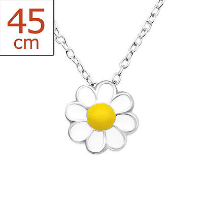 Sterling Silver White Yellow Daisy Flower Necklace Chain Pendant 8mm Girls 925