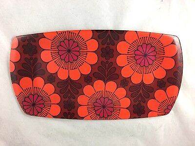 """Vintage Mod Floral Serving Tray Thetford of England 1960's 12"""" X 7"""""""