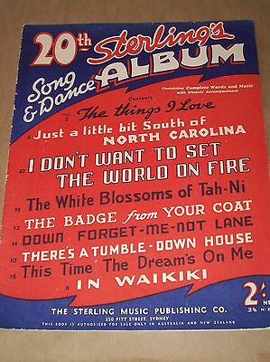 Sterling's 20th Song & Dance Album - 9 songs -  Vintage Sheet Music Book