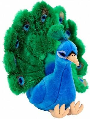 FAO Schwarz 15 Inch Soft Plush Stuffed Animal Peacock Figure Toy - Blue/Green
