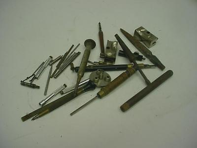 Vintage set of Watchmaker's Clockmaker Hand Tools & Lathe Parts Holders D408b
