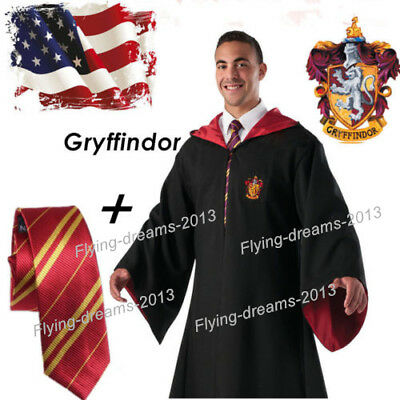 US Stock Harry Potter Cape Costume Gryffindor Robe With Tie Cloak Party Cosplay