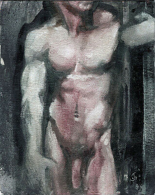 Male Nude Erotic Gay Interest Signed Original Classical Abstract Oil Painting