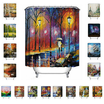 Oil Painting Style 3D Printed Bathroom Shower Curtain Polyester Bath Art Decor