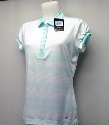New Ladies Nike Golf shirt Multi Stripe polo Medium Polyester Spandex