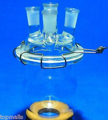 1000ml,24/40,Glass Reaction Reactor,1L,4-Necks Reaction Vessel W/Lid and Clamp