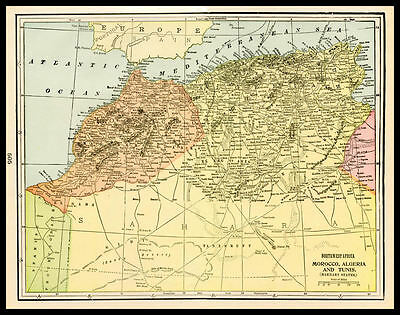 MOROCCO ALGERIA TUNIS Barbary States 1901 antique color lithograph Map