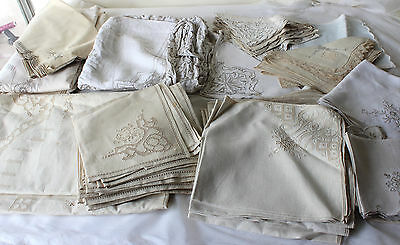 Antique Linen Rectangular Tablecloth & 12 Napkins Cutwork Embroidered Vintage