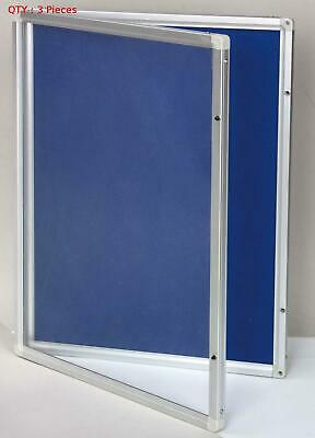 3 X 450X600Mm Lockable Commercial Notice Pin Board Showcase With Clear Door E0