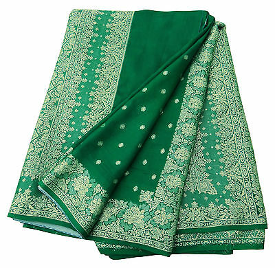 Indian Vintage 100% Pure Silk Saree Green Woven Sarong Sari Craft Fabric 5YD