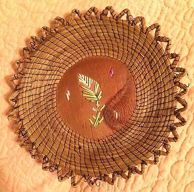 Antique Birch Bark Sweetgrass Quill Ojibway Small Tray Native American