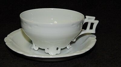 Vintage 1960s White Porcelain Footed Cup & Saucer  - Made in Japan- New unused