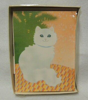 Vintage 1980s White Cat Note Cards from Hallmark 4 cards w/ envelopes in Box