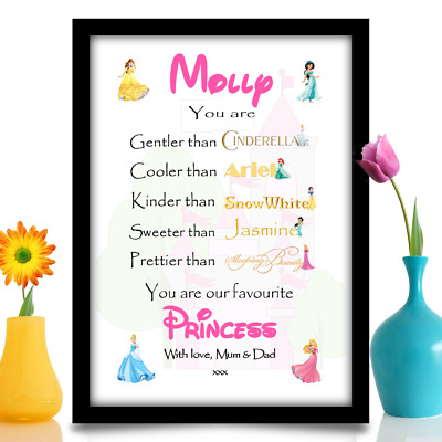 Birthday Gift DAUGHTER MUM GIRL NIECE Princess Style Personalised A4 Gloss Print