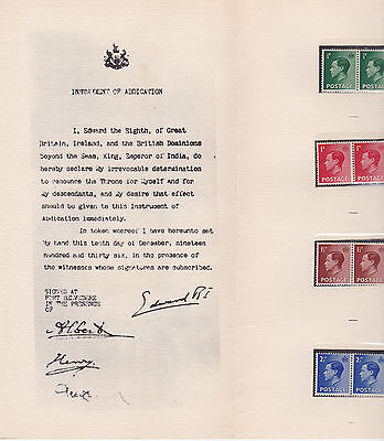 Great Britain - Edward's Farewell - 1936 Pamphlet & Mint NH Stamps (O_05)