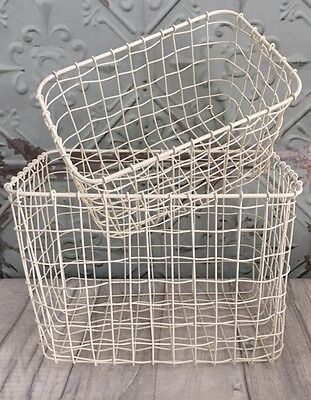 Cream Wire Metal Storage Basket Crate Rectangle Two Sizes