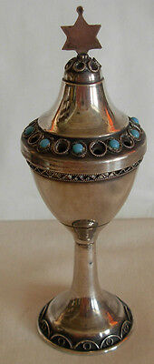 STERLING SILVER FILIGREE WORK WITH  TURQUOISE BESAMIM  TOWER- 29.9 grams JUDAICA