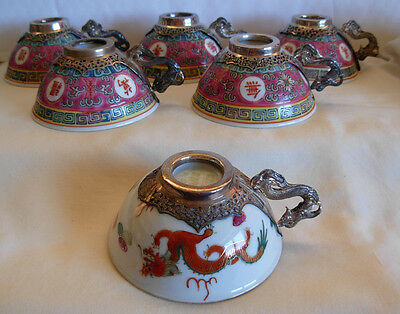 Set Of 6 Chinese Porcelain Cups / Bowls  With Polish 875 Silver Dragon Handles