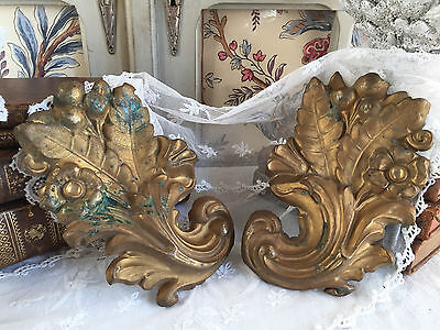 DIVINE ANTIQUE FRENCH PAIR REPOUSSE TOLE ACANTHUS LEAF SCROLL MOUNT PLAQUE c1880