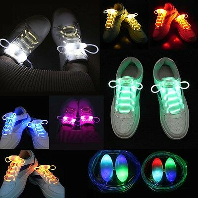 2x Colorful LED Luminous Light Up Glow Nylon Strap Shoe Laces Party Disco Decor
