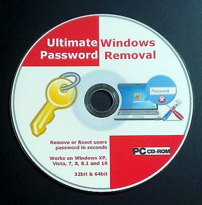 Windows Password Recovery / Remove / Reset CD Disc for XP, VISTA, 7, 8 and 10