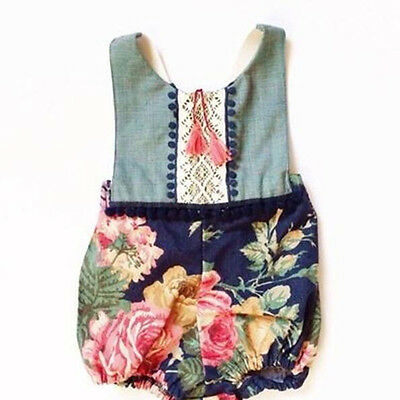 0-4Y Toddler Kids Baby Girl Summer Clothes Floral Bodysuit Romper Sunsuit Outfit