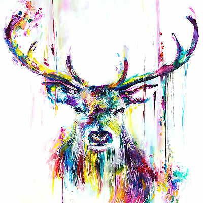 Stag Colourful Abstract Antellers WALL ART CANVAS FRAMED OR POSTER PRINT
