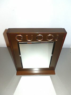 Gucci Beautiful Authentic Bronze Gold Table Mirror With Metal Base Made In Italy