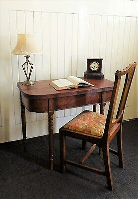 Antique turn over top fold out Victorian console tea table / dining / card table