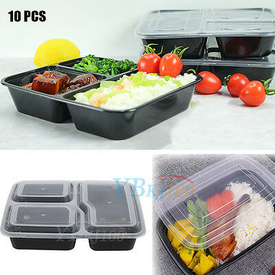 Plastic Meal Prep Food Storage Containers Microwavable Lunch Boxes With Lids Kit